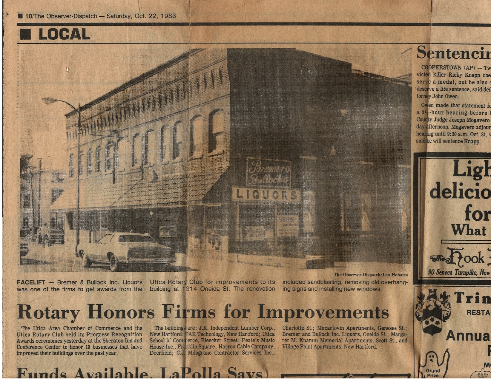 1983 article in the Utica OD featuring the third Bremer's location on Oneida Square, Utica