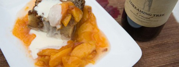 Maple Pecan Bread Pudding with Fresh Peach Sauce