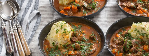 Beef Stew and Cheesy Mashed Potatos