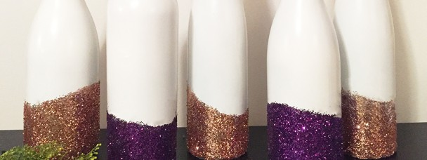 Glitter Wine Bottle Vases